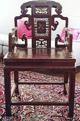 Antique 1800s Chinese Throne Arm Chair Carved Gilded  Rosewood?