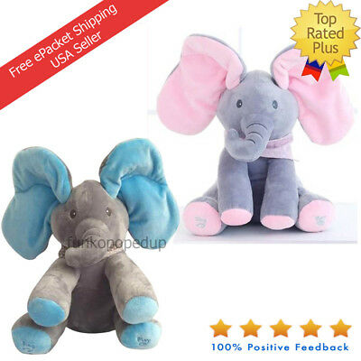 Animated Singing Elephant Baby Toy Playing Peek-a-Boo Cartoon Christmas Gift