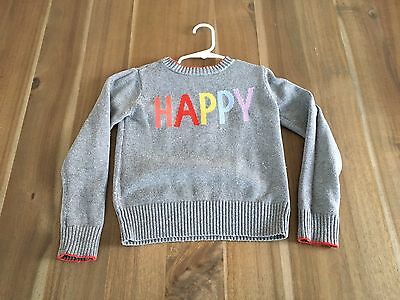 GAP Toddler Girls size 4-5Y HAPPY knit sweater VGUC