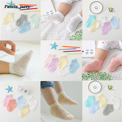 Cute Baby Girls Boys Anti-slip Socks Solid Hollow Toddler Socks Christmas Gift
