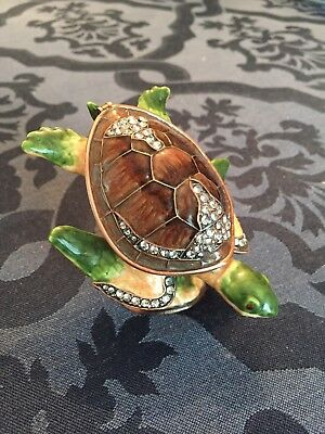Sea Turtle Enamel Bejeweled  Pill Trinket Box