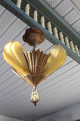 Antique Art Deco Slip Shade Ceiling Light Fixture Chandelier 3 Shades