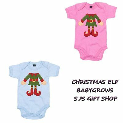 Santas Little Elf Babygrow Playsuit Christmas Present Gift Idea Baby 100% Cotton