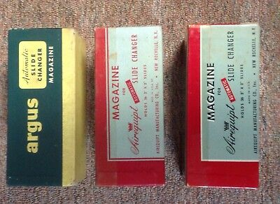 Two Airequipt & One Argus Automatic Slide Changers - Vintage