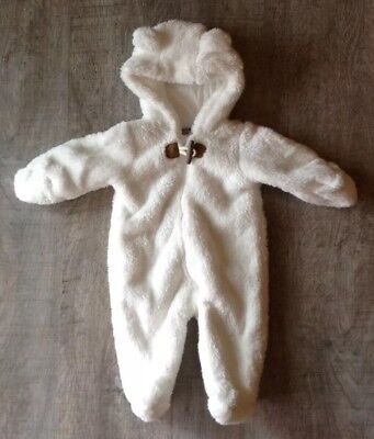 Carter's Newborn White Hooded Sherpa Snowsuit Bunting Infant