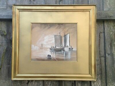 Large Antique Oil Suffolk Seascape In Gold Gilt Frame, Signed T Westcott