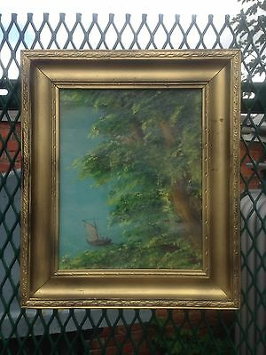 Antique Oil Painting In Gold Gilt Frame, Signed
