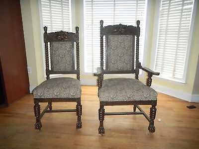 Antique Oak Dining Room  Chairs Lions Feet North wind Face