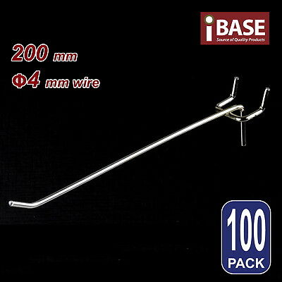 100 x PEGBOARD HOOK CHROME PANEL VALCANO BOARD 200MM 4MM STEEL FREE