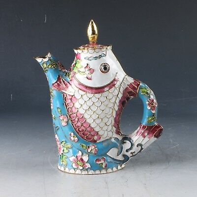 Chinese Cloisonne  Hand Carved Fish Teapot  PJ841