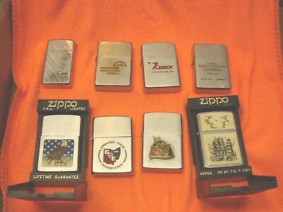 Mixed LOT of 8 Vintage Zippo LIGHTERS