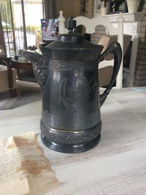 Antique Rogers Smith & Co Quadruple Silver Plate Water Pitcher 1868 Meriden 193