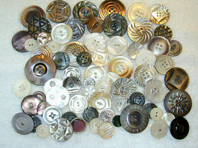 70 Antique Mother of Pearl Shell Buttons Mostly carved MOP Dark & Light