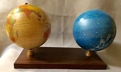 """Replogle 6"""" Celestial And Revere Metal Globes On Faux Wood Base Circa 1970s"""
