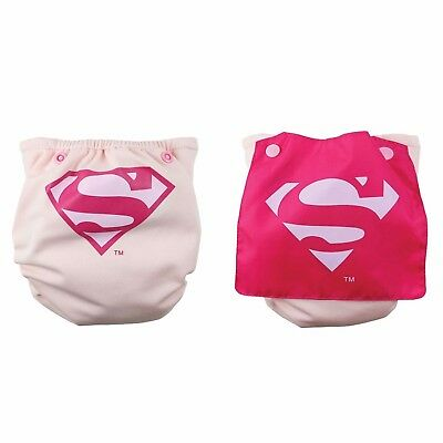 NEW Bumkins Cape Superwoman Superman Pink Cloth Diaper Superhero Supergirl