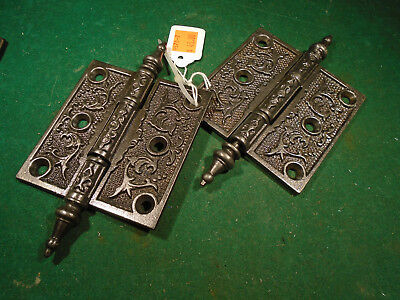 "Pair Vintage Eastlake Hinges  3 1/2""  X 3 1/2""  Steeple Top - Beautiful  (9570)"