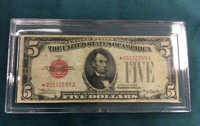 Star Note $5 Bill  Series 1928 B Red Seal On Left Julian And Morgenthau