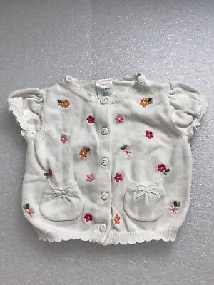 Gymboree Flowers Short Sleeve Cardigan Sweater With pockets 3-6 months