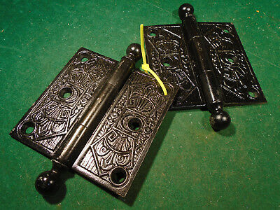 "Pair Vintage Eastlake Hinges  3 1/2""  X 3 1/2""  Cannon Ball - Beautiful  (9571)"