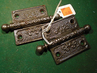 "Pair Vintage Eastlake Hinges  2 1/2""  X 2 1/2"" Cannon Ball Tip Beautiful (9577)"