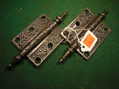 "Pair Vintage Eastlake Hinges  3""  X 2 1/2""  Steeple Top - Beautiful  (9576)"