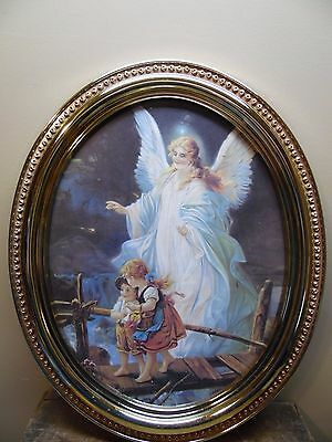 Home Interiors Oval Guardian Angel & Children Crossing Bridge With Original Box