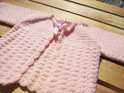 Antique Crochet Baby or Doll Sweater Vintage Pink