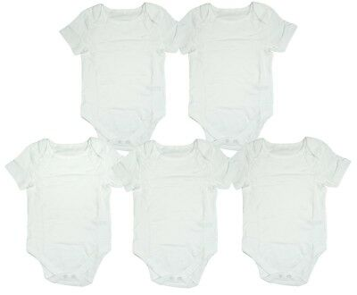 Baby PACK OF 5 Unisex White Bodysuits Cotton Vests Prem Tiny baby to 24 Months