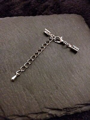 6 sets Silver TONE Crimp Ends for 3mm to 3.5mm Cord with 12mm Clasps & Chain UK