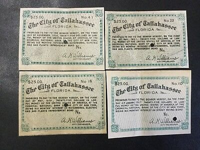 1917-1921 The City Of Tallahassee Florida Bond Notes (Lot Of 4 Notes) !