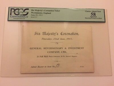 1911 Coronation His Majesty King George V Ticket Pass Westminster England PCGS