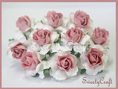 10 White - Pink Mulberry Paper Rose Flower handmade size 2.5 cm. card SW032