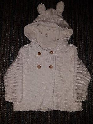 Marks and Spencer Knitted White Cardigan 0-3 Months Unisex NEW
