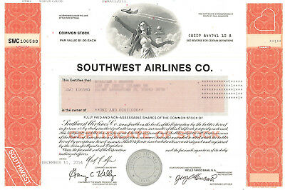 Southwest Airlines stock certificate