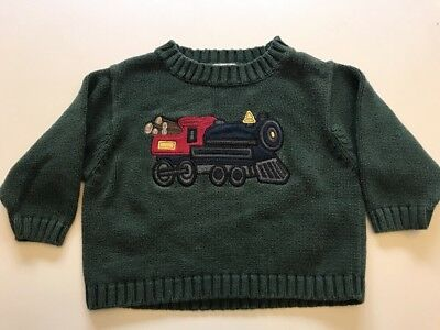Vintage Baby Gap Boys Train Sweater 2T Green Heavy Knit Holiday