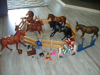 Lot of 5 Toy Horses Plastic 1 Donkey with Bryer