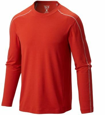 Mountain Hardwear CoolHiker L/S T-Shirt, Mens Wicking Top, Flame Red, M