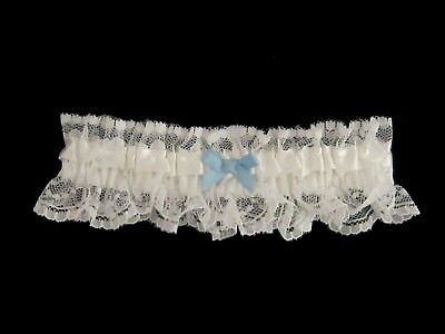 Beautiful Ivory Lace Bridal Garter with Blue Ribbon
