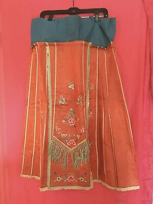 Interesting Antique/vintage Red Silk Chinese Skirt, With Embroidery And Fringe