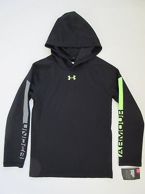 Under Armour Boys' Long Sleeve Waffle Thermal Black Hoodie Shirt Youth 7 - NWT