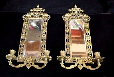 Pair of Antique Decorative Brass Wall Sconce Mirrors