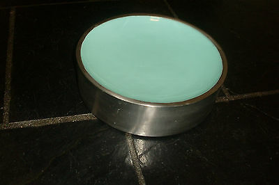 Jayson Brunsdon Silver Tone & Green Enamel Metal Bowl -Made In India