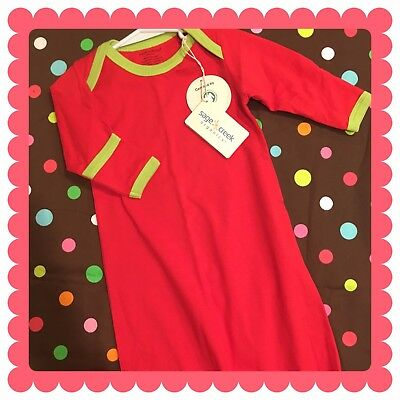 NWT Sage Creek Organics Red/Green Sleeper/Gown, perfect for monograms:)