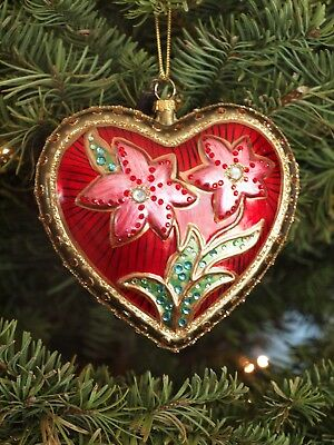 Set of 6 floral heart ornaments farmhouse Christmas ornaments jeweled folklore