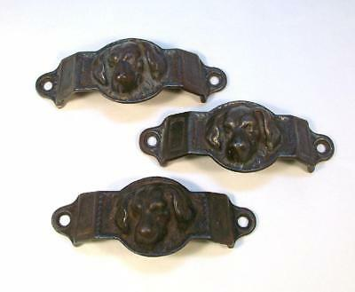 Original Antique CAST IRON DOG Drawer Pulls - Set of 3 - 1880's Fine Detail