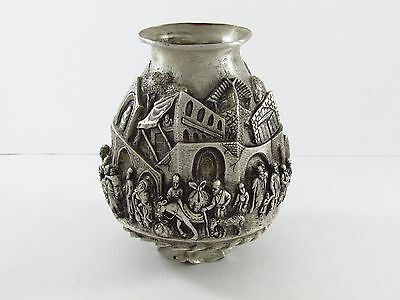 Magnificent Unique Persian Silver vase Repousse 990 silver quality