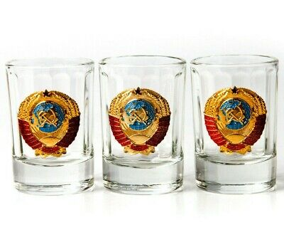 USSR Shot Glasses Set of 3 Made in Russia Vodka Tequila Shots 1.7 fl oz ea