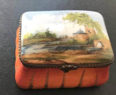 Limoges Hand Painted Porcelain Hinged Box, Castle Ruins, Bridge, Artist Signed