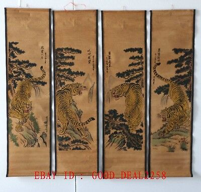 A Set Of 4 Pieces,Old  Collection Scroll Chinese Painting :Four tigers  ZH008