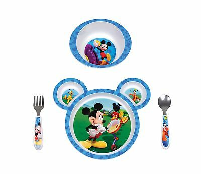 Feeding Dish Mickey Mouse Toddler Kid Baby Food Bowl Plate Fork Spoon 4 Pack New